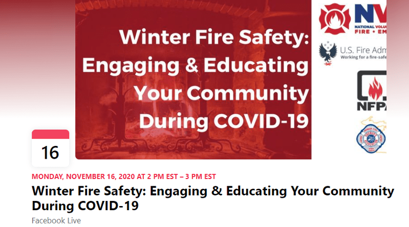 Attend Upcoming Facebook Live Event Addressing Ways to Promote Winter Fire Safety in your Community during COVID-19
